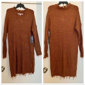 HYFVE Raw Hem Knit Sweater Dress Rust Size Small